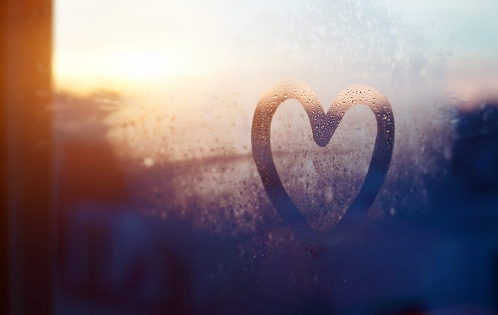 Condensation heart drawn on a window