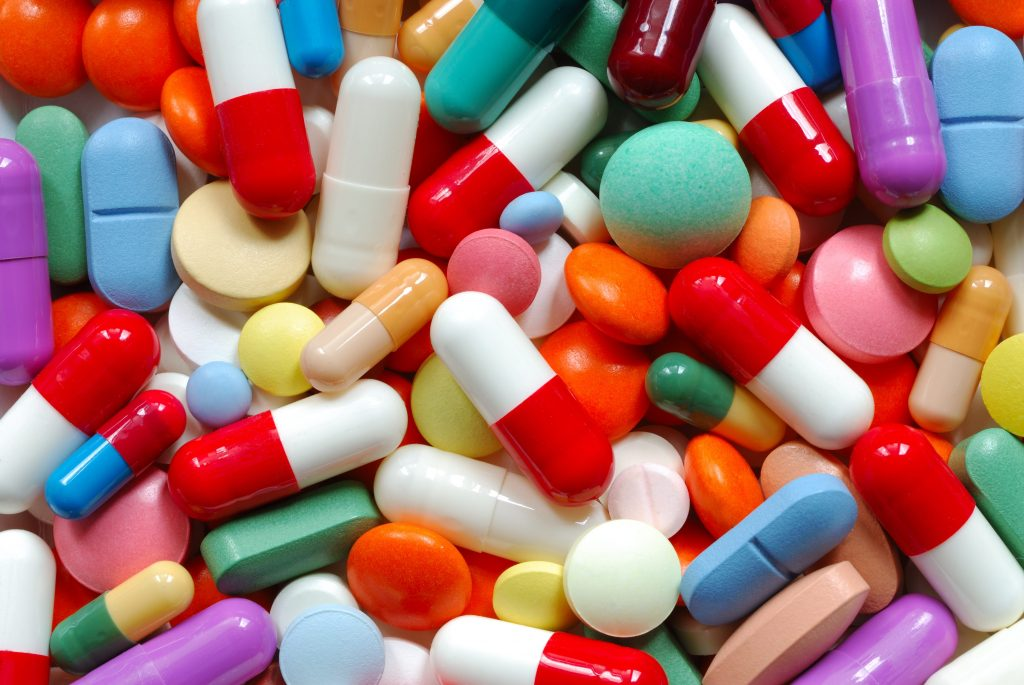 image of various coloured prescription drug pills